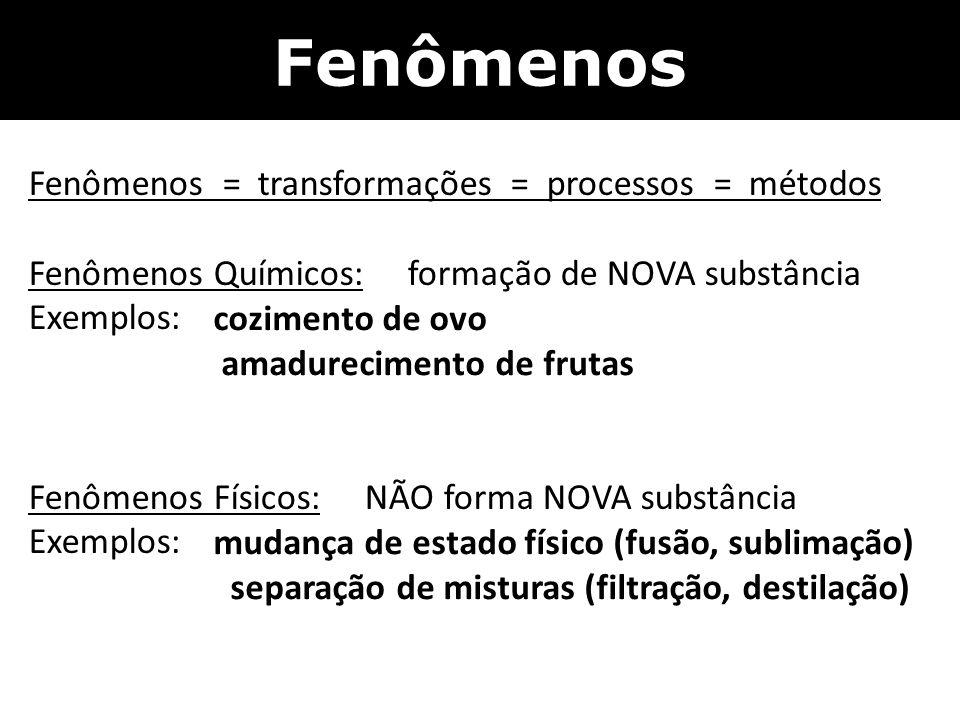 Fenômenos Fenômenos = transformações = processos = métodos Fenômenos Químicos: formação de NOVA substância Exemplos: Fenômenos Físicos: NÃO forma NOVA