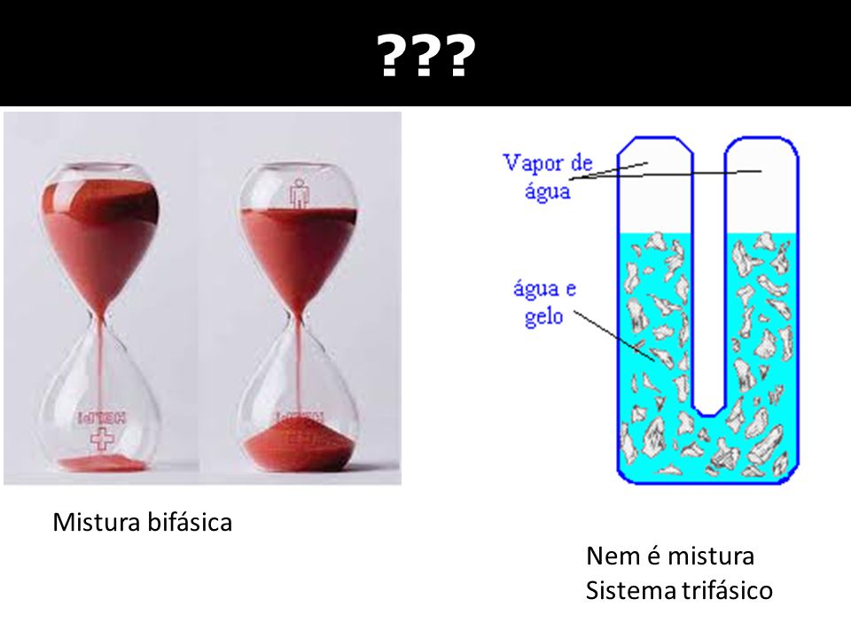 ??? Mistura bifásica Nem é mistura Sistema trifásico