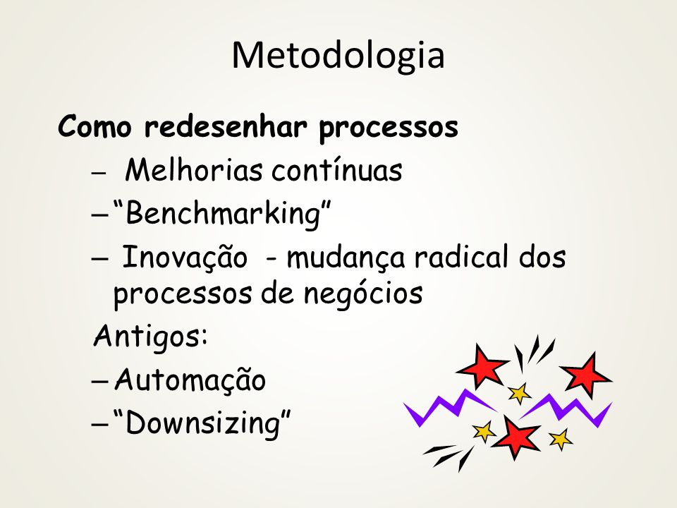Metodologia Como redesenhar processos – Melhorias contínuas – Benchmarking – Inovação - mudança radical dos processos de negócios Antigos: – Automação – Downsizing