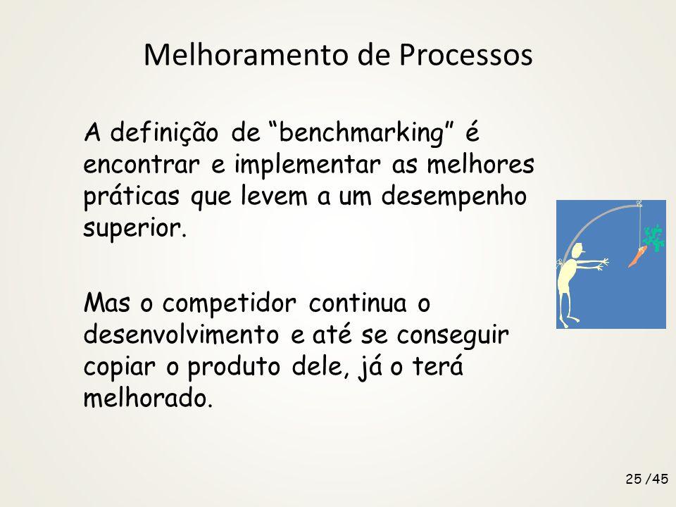 Melhoramento de Processos A definição de benchmarking é encontrar e implementar as melhores práticas que levem a um desempenho superior.