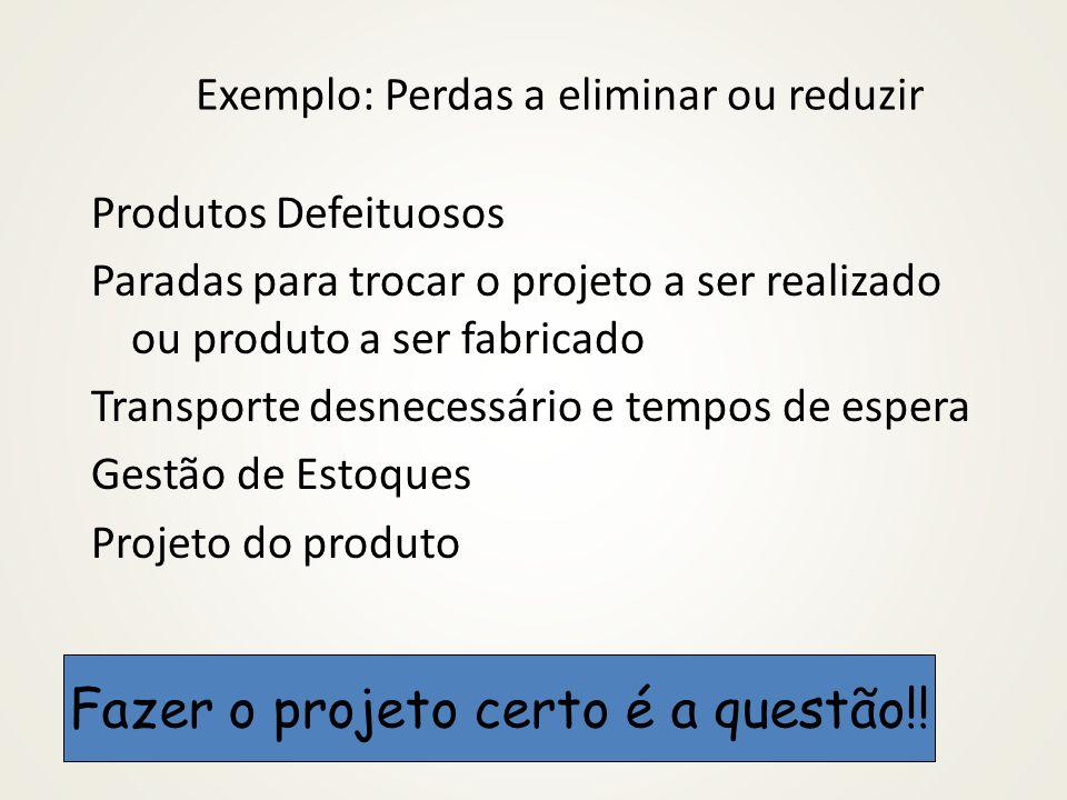 Exemplo: Perdas a eliminar ou reduzir Produtos Defeituosos Paradas para trocar o projeto a ser realizado ou produto a ser fabricado Transporte desnece