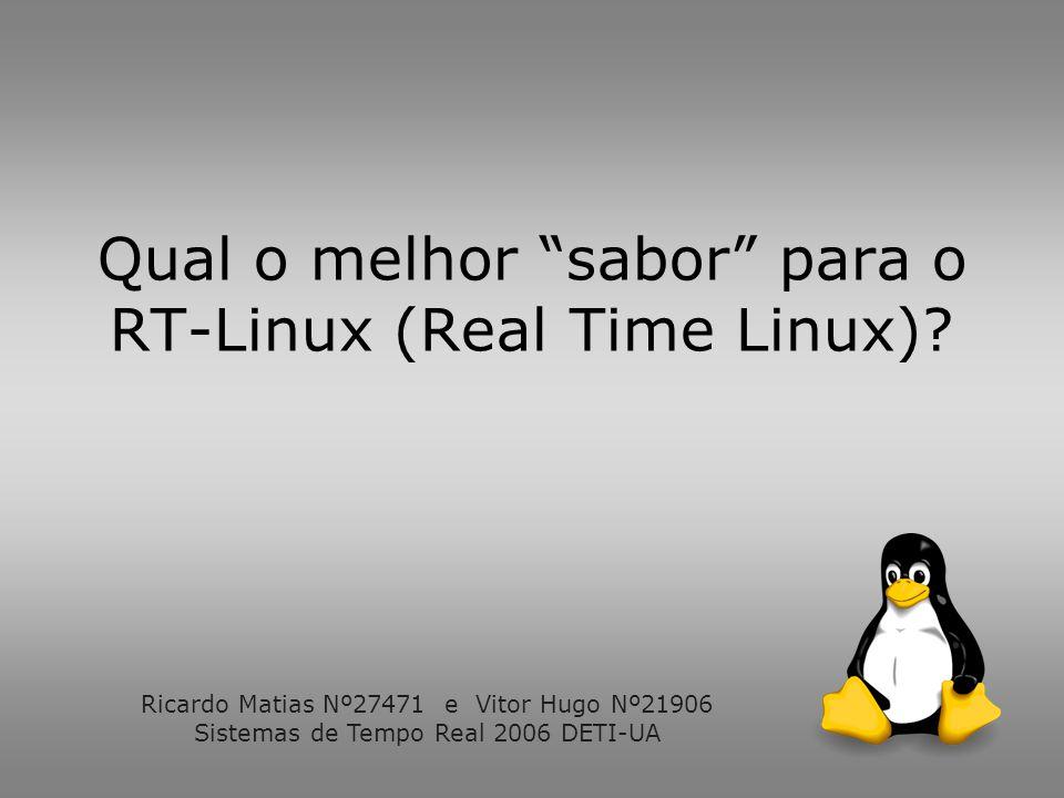 Overview Sistemas operativos de tempo real Soluções para Linux Teste de varias soluções Análise de Resultados