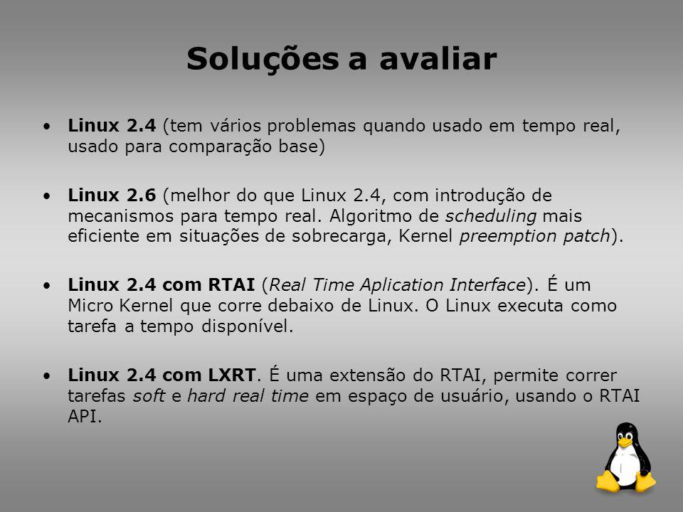 Soluções a avaliar Linux 2.4 (tem vários problemas quando usado em tempo real, usado para comparação base) Linux 2.6 (melhor do que Linux 2.4, com introdução de mecanismos para tempo real.