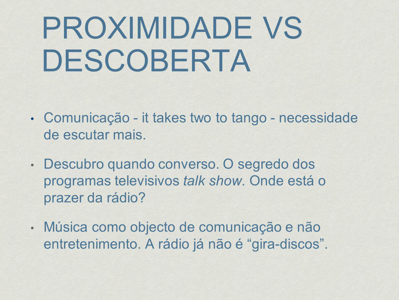 PROXIMIDADE VS DESCOBERTA Comunicação - it takes two to tango - necessidade de escutar mais.