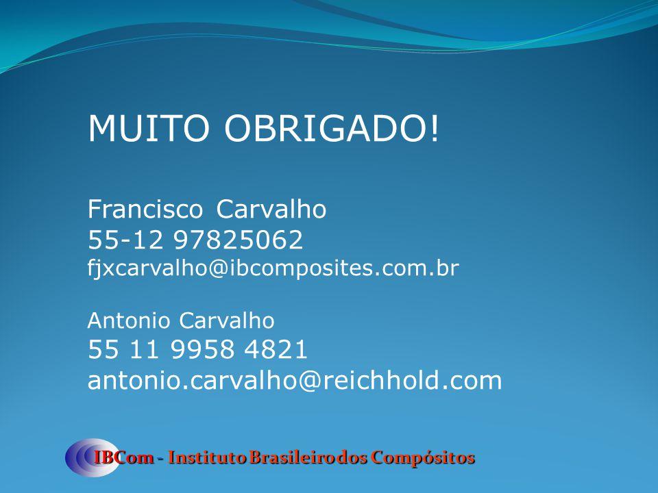 IBCom - Instituto Brasileiro dos Compósitos MUITO OBRIGADO! Francisco Carvalho 55-12 97825062 fjxcarvalho@ibcomposites.com.br Antonio Carvalho 55 11 9