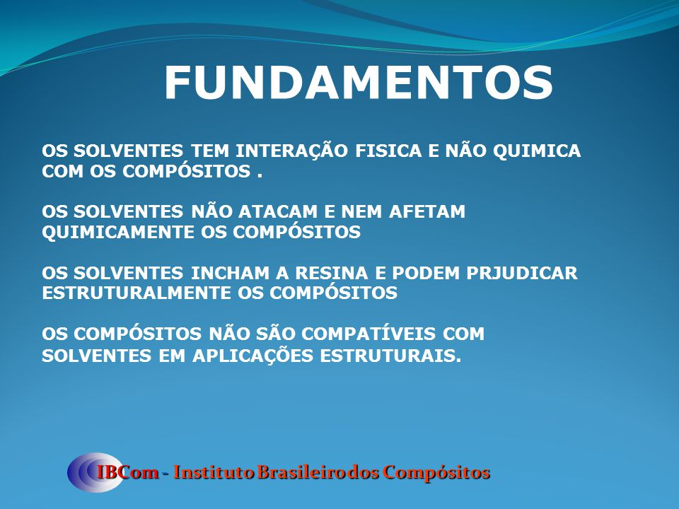 ESTRATEGIA LOCAL PARA DUTOS DE ETANOL IBCom - Instituto Brasileiro dos Compósitos CURRENT SCENARIO IN BRAZIL STEEL IS THE ONLY COMPETING MATERIAL THERE ARE MANY MATURE COMPOSITE PIPE FABRICATORS COMPOSITE PIPES ARE COMPETITIVE VERSUS STEEL PETROBRAS IS THE ONLY CUSTOMER PETROBRAS IS IN FULL SUPPORT OF A COMPOSITE ALTERNATIVE TO STEEL FUTURE ACTION IN BRAZIL LICENSE EXPERIENCED AND WELL FINANCED PIPE FABRICATORS DEVELOP TRAINING PROGRAM FOR INSTALLERS AND MAINTENANCE PERSONNEL INITIATE TESTS TO CONFIRM COMPLIANCE WITH THE CURRENT STANDARDS HIGHLIGHT THE SPECIAL FEATURES OF IMPERMEABLE PIPES TO THE ENGINEERING COMMUNITY