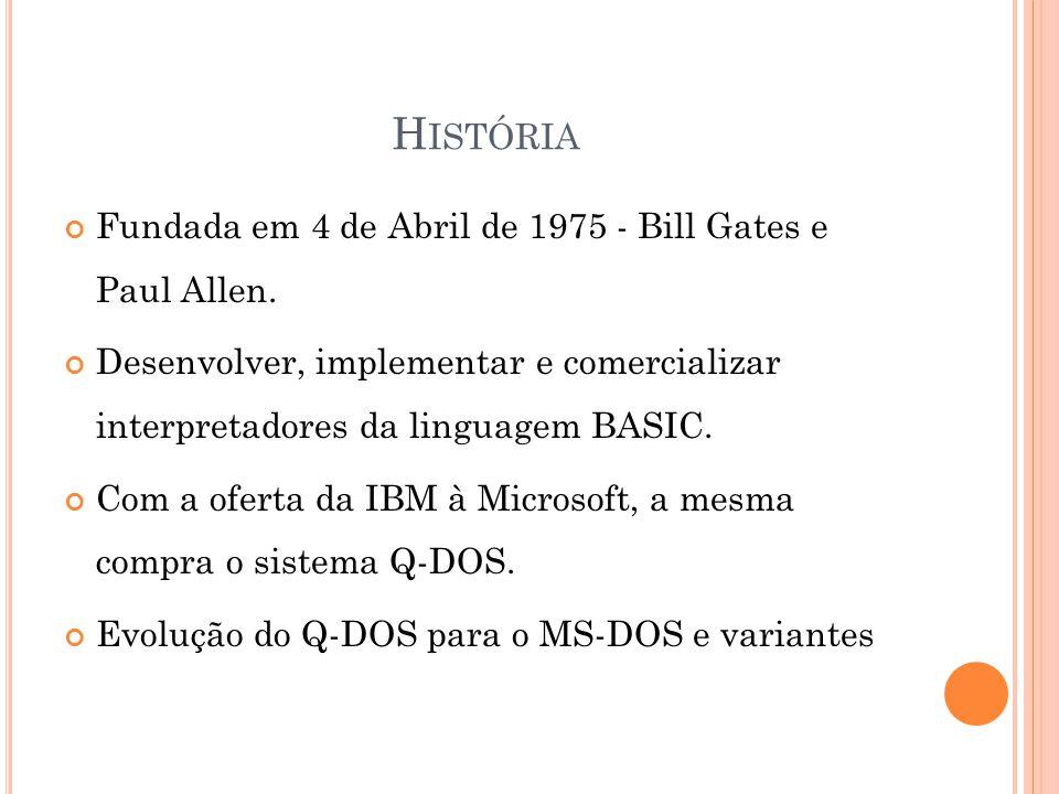 H ISTÓRIA Fundada em 4 de Abril de 1975 - Bill Gates e Paul Allen.