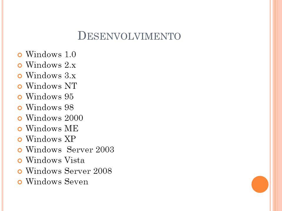W INDOWS V ISTA Lançado em 30 de Janeiro de 2007.