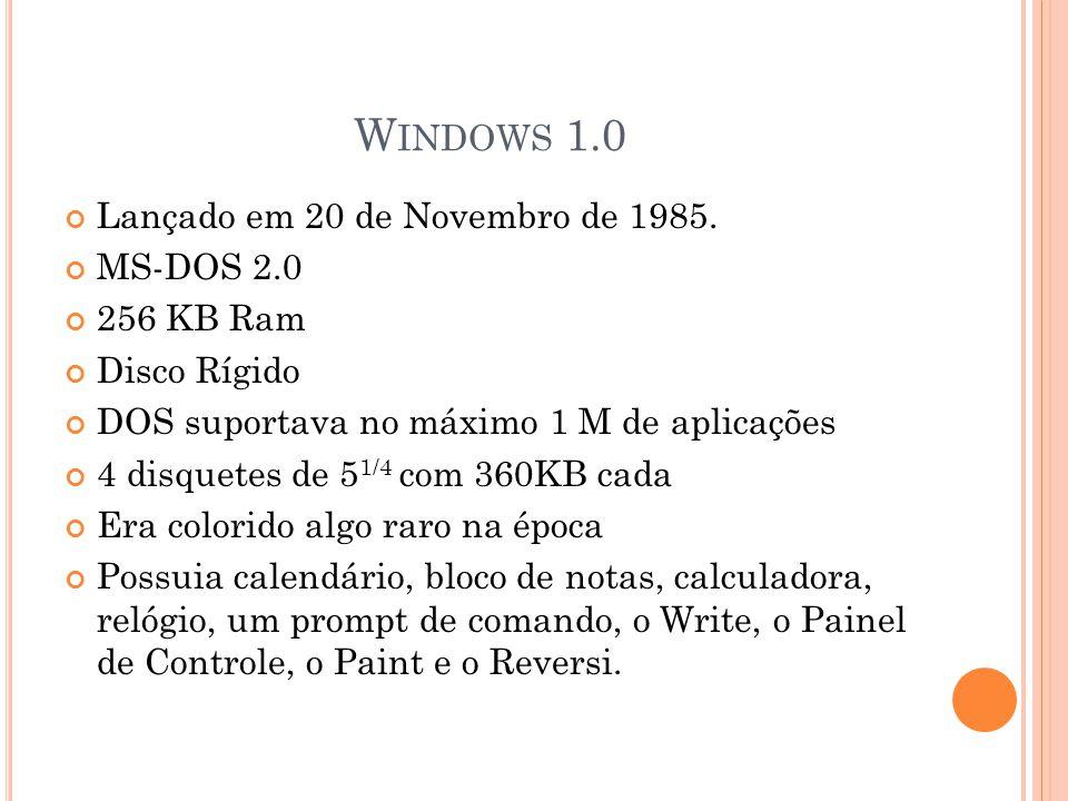 W INDOWS 1.0 Lançado em 20 de Novembro de 1985.