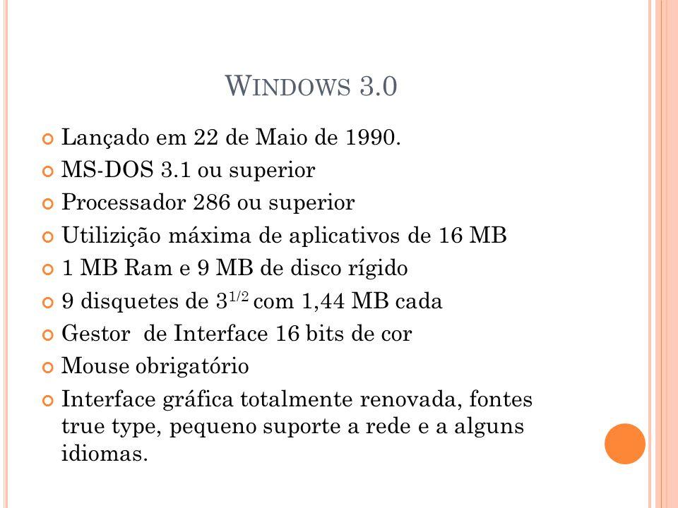 W INDOWS 3.0 Lançado em 22 de Maio de 1990.
