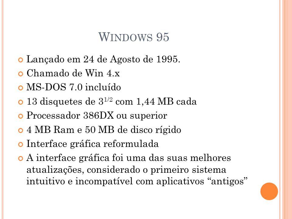 W INDOWS 98 Lançado em 25 de Junho de 1998.