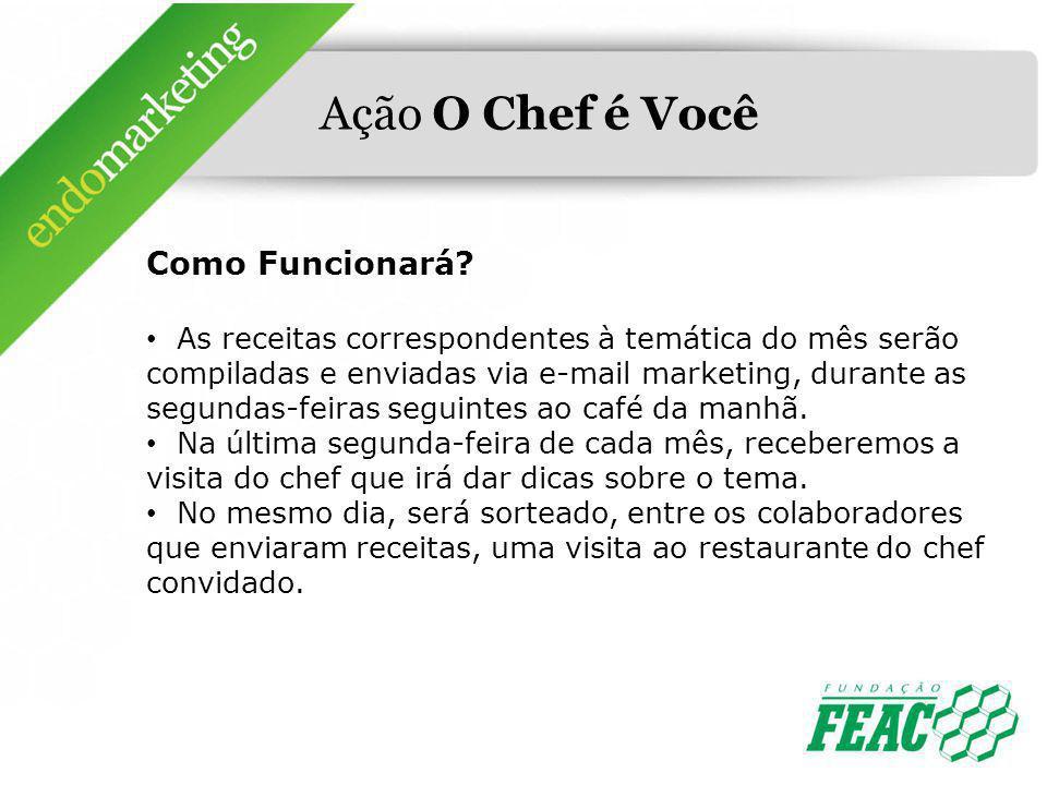 Ação O Chef é Você Como Funcionará? As receitas correspondentes à temática do mês serão compiladas e enviadas via e-mail marketing, durante as segunda