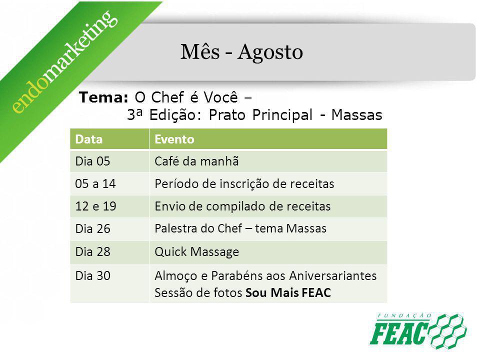 Mês - Agosto Tema: O Chef é Você – 3ª Edição: Prato Principal - Massas DataEvento Dia 05Café da manhã 05 a 14Período de inscrição de receitas 12 e 19E