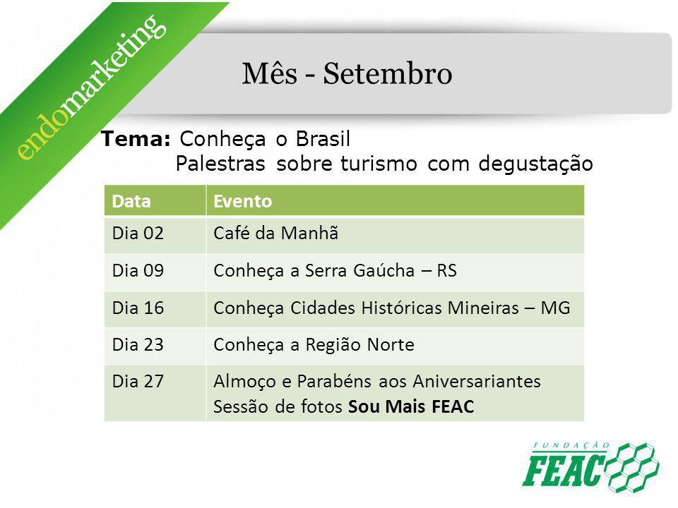Mês - Setembro Tema: Conheça o Brasil Palestras sobre turismo com degustação DataEvento Dia 02Café da Manhã Dia 09Conheça a Serra Gaúcha – RS Dia 16Co