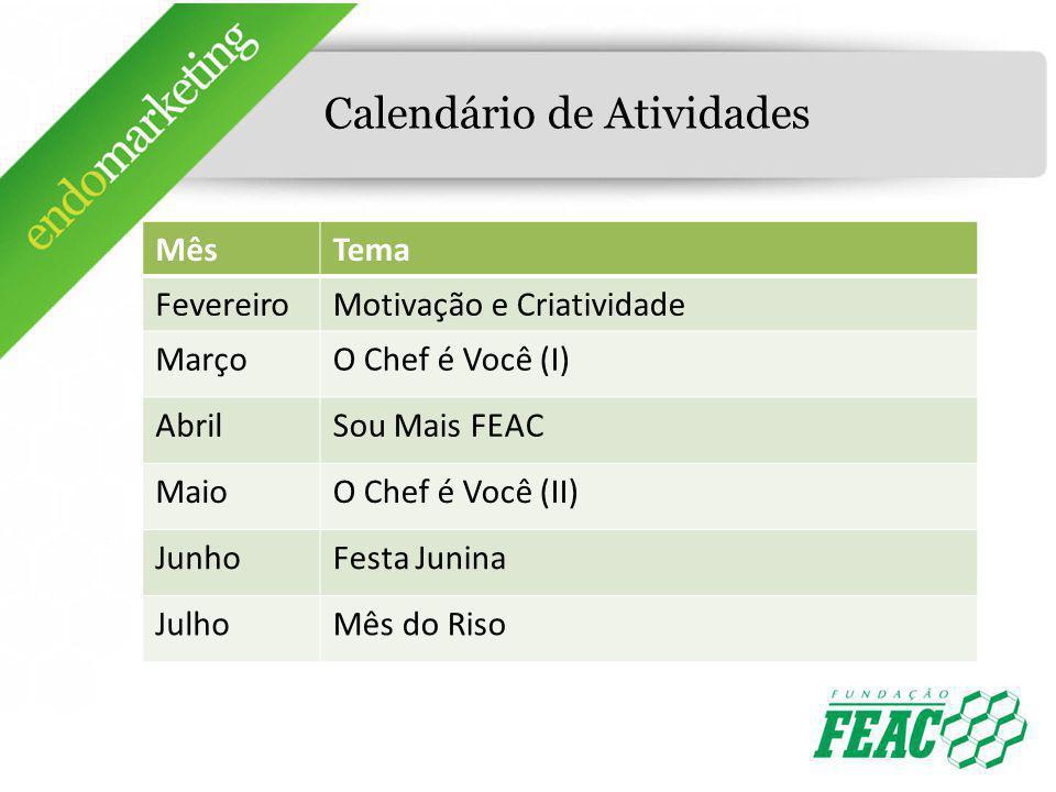 Calendário de Atividades MêsTema FevereiroMotivação e Criatividade MarçoO Chef é Você (I) AbrilSou Mais FEAC MaioO Chef é Você (II) JunhoFesta Junina