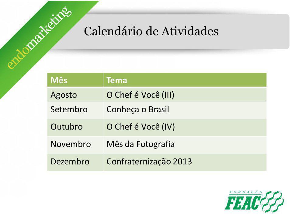 Calendário de Atividades MêsTema AgostoO Chef é Você (III) SetembroConheça o Brasil OutubroO Chef é Você (IV) NovembroMês da Fotografia DezembroConfra
