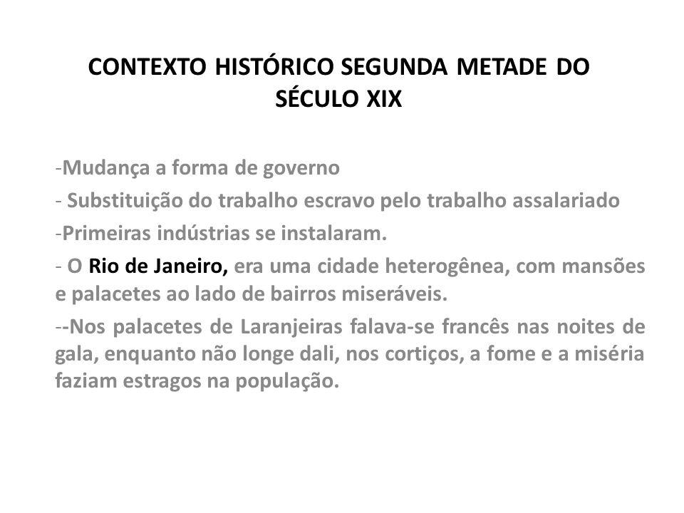 CONTEXTO HISTÓRICO SEGUNDA METADE DO SÉCULO XIX -Mudança a forma de governo - Substituição do trabalho escravo pelo trabalho assalariado -Primeiras in