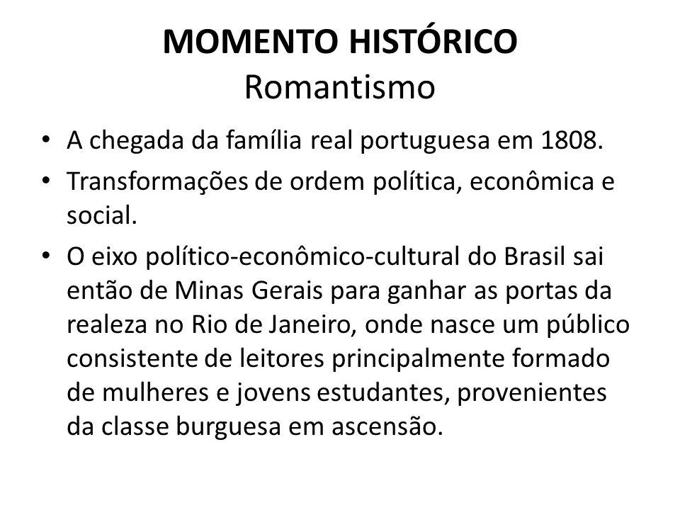MOMENTO HISTÓRICO Romantismo A chegada da família real portuguesa em 1808. Transformações de ordem política, econômica e social. O eixo político-econô