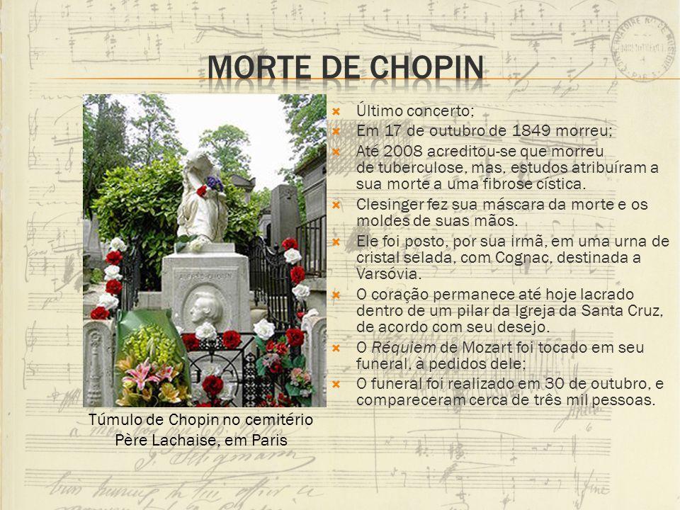 Último concerto; Em 17 de outubro de 1849 morreu; Até 2008 acreditou-se que morreu de tuberculose, mas, estudos atribuíram a sua morte a uma fibrose c