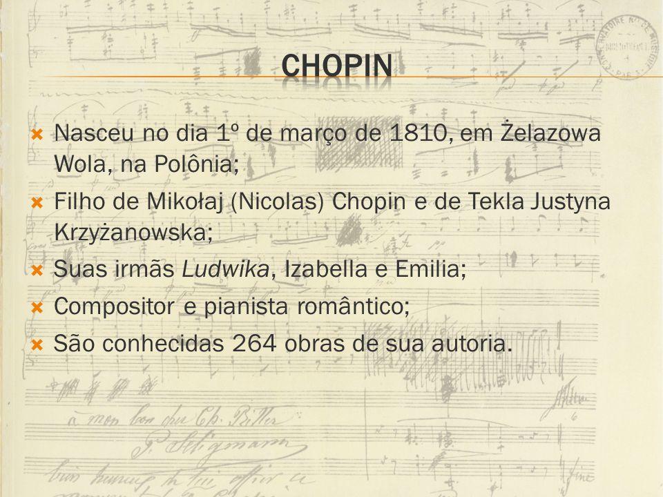 Nasceu no dia 1º de março de 1810, em Żelazowa Wola, na Polônia; Filho de Mikołaj (Nicolas) Chopin e de Tekla Justyna Krzyżanowska; Suas irmãs Ludwika