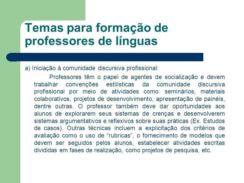 Temas para formação de professores de línguas a) Iniciação à comunidade discursiva profissional: Professores têm o papel de agentes de socialização e