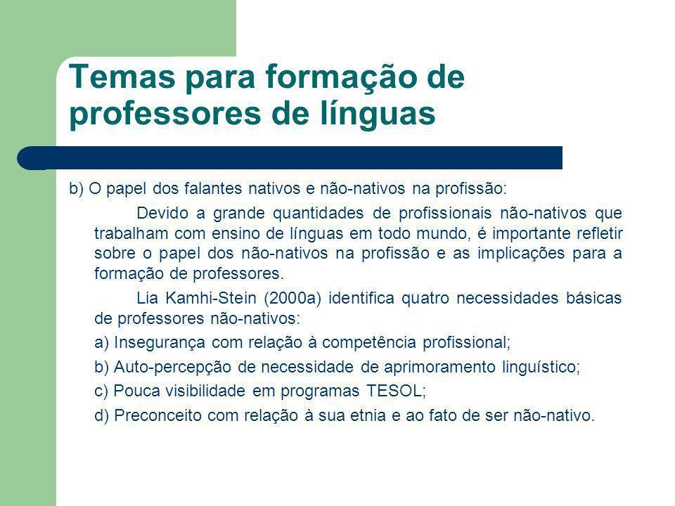 Temas para formação de professores de línguas b) O papel dos falantes nativos e não-nativos na profissão: Devido a grande quantidades de profissionais