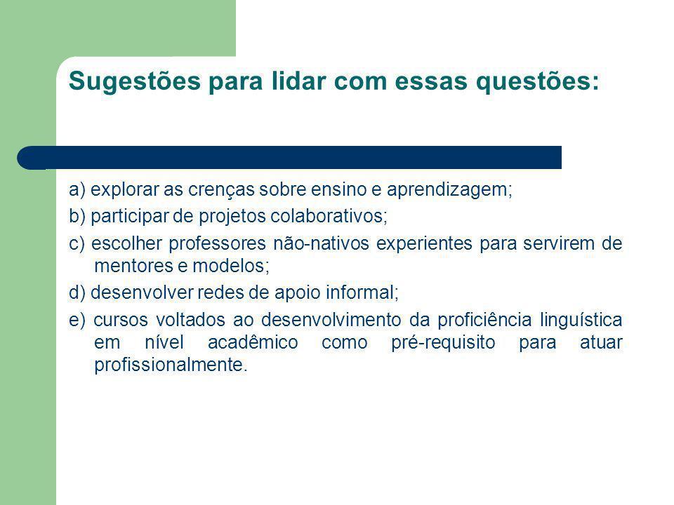 Sugestões para lidar com essas questões: a) explorar as crenças sobre ensino e aprendizagem; b) participar de projetos colaborativos; c) escolher prof