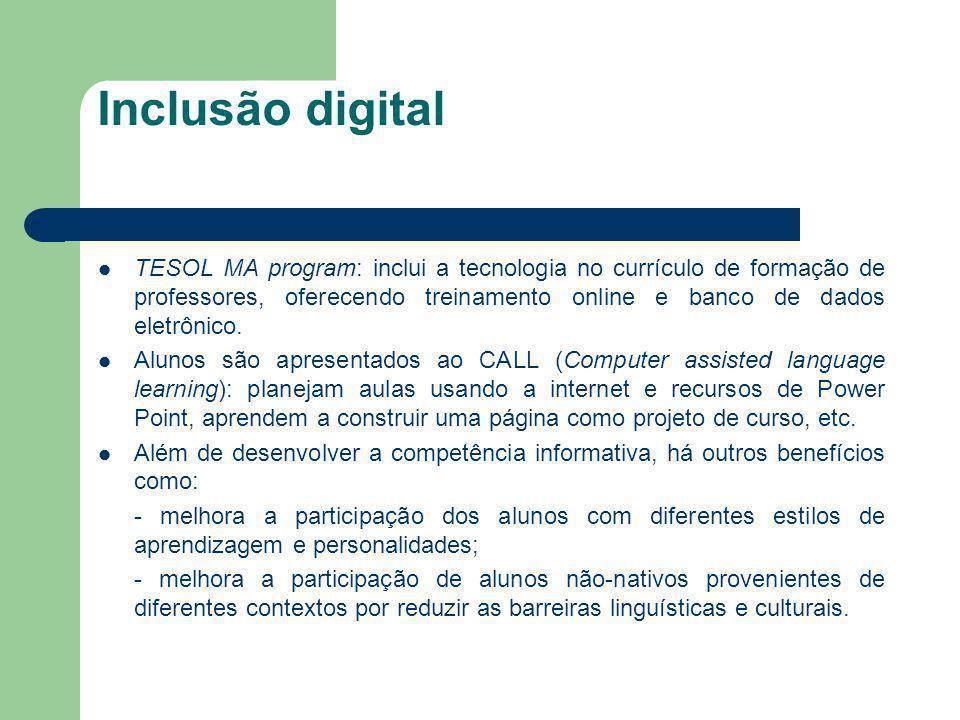 Inclusão digital TESOL MA program: inclui a tecnologia no currículo de formação de professores, oferecendo treinamento online e banco de dados eletrôn