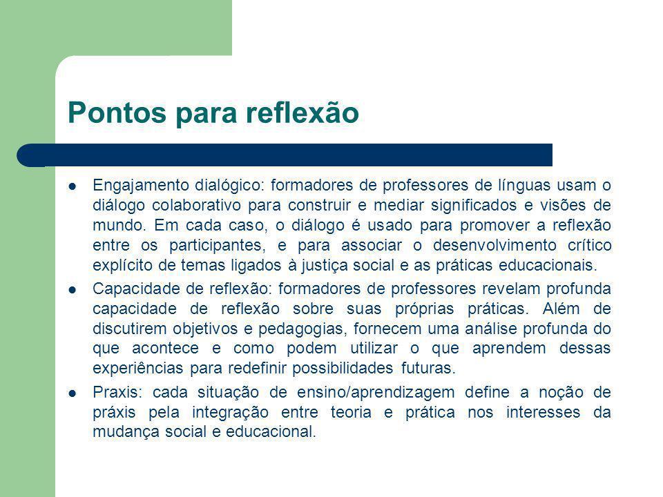 Pontos para reflexão Engajamento dialógico: formadores de professores de línguas usam o diálogo colaborativo para construir e mediar significados e vi