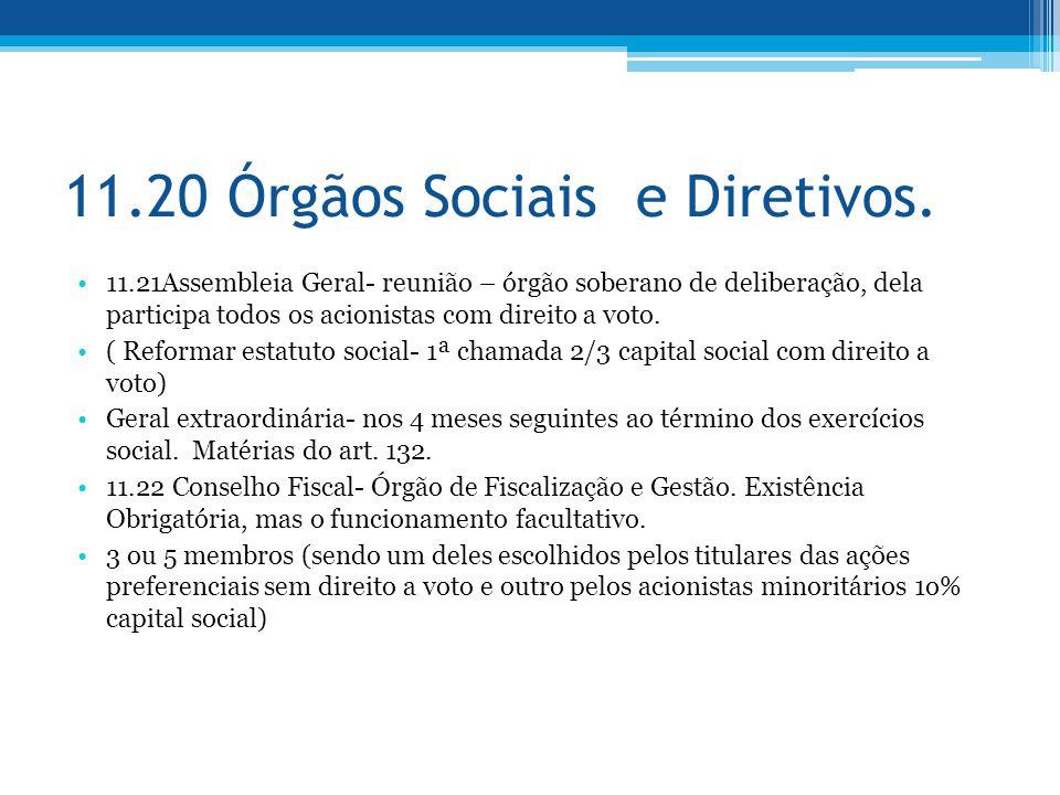 11.20 Órgãos Sociais e Diretivos. 11.21Assembleia Geral- reunião – órgão soberano de deliberação, dela participa todos os acionistas com direito a vot