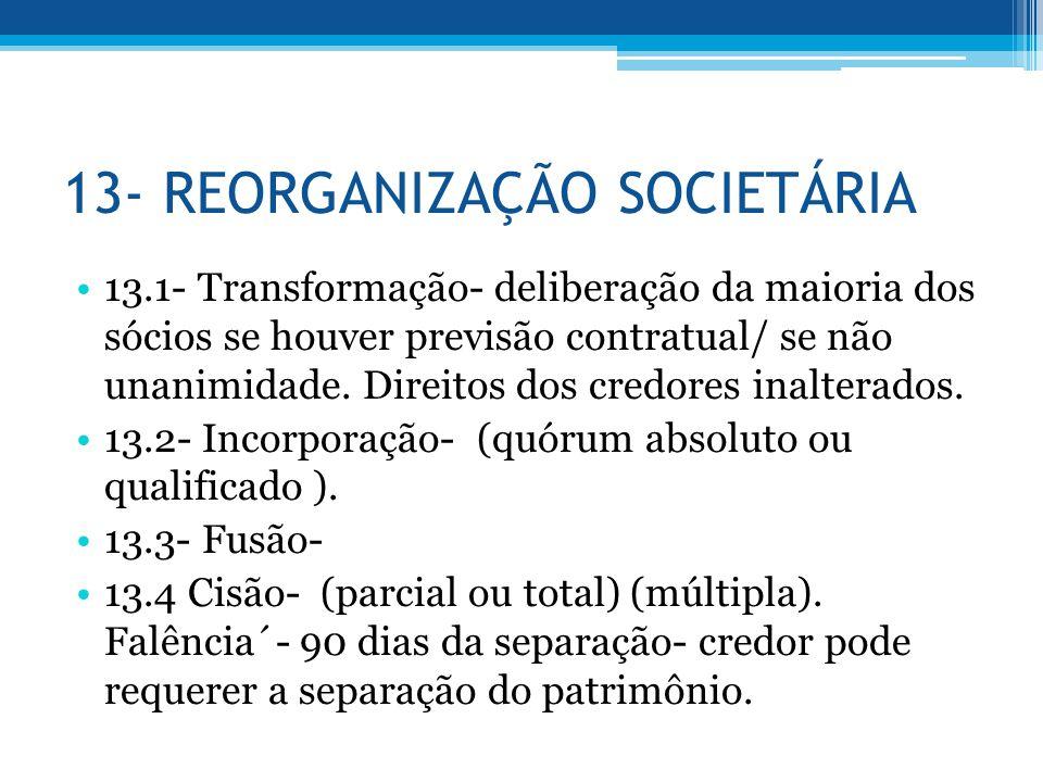 13- REORGANIZAÇÃO SOCIETÁRIA 13.1- Transformação- deliberação da maioria dos sócios se houver previsão contratual/ se não unanimidade. Direitos dos cr