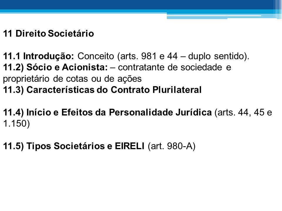 11 Direito Societário 11.1 Introdução: Conceito (arts. 981 e 44 – duplo sentido). 11.2) Sócio e Acionista: – contratante de sociedade e proprietário d