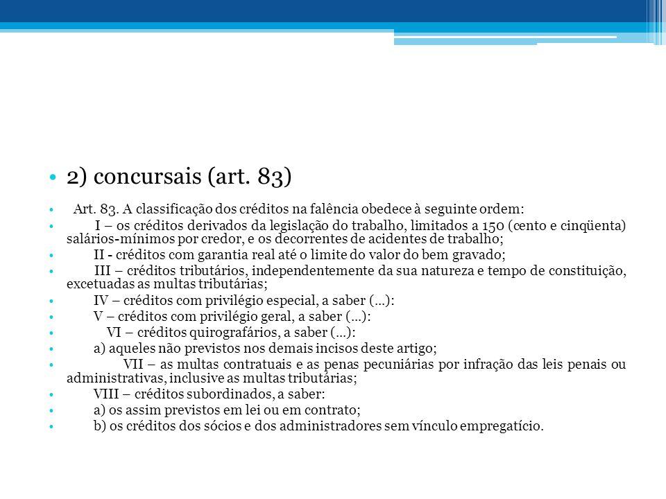 2) concursais (art. 83) Art. 83. A classificação dos créditos na falência obedece à seguinte ordem: I – os créditos derivados da legislação do trabalh