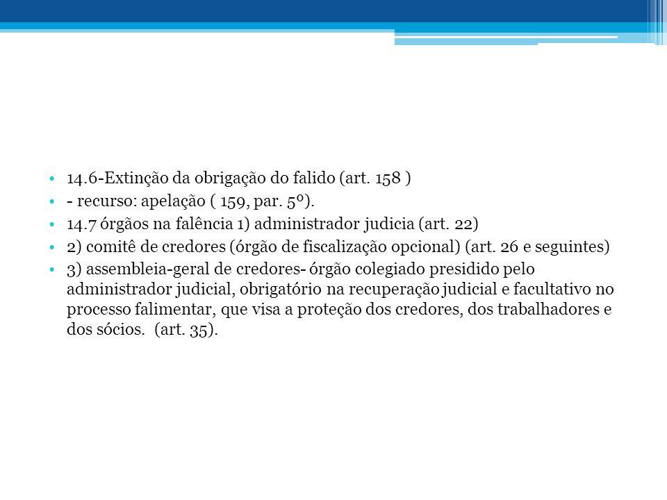14.6-Extinção da obrigação do falido (art. 158 ) - recurso: apelação ( 159, par. 5º). 14.7 órgãos na falência 1) administrador judicia (art. 22) 2) co