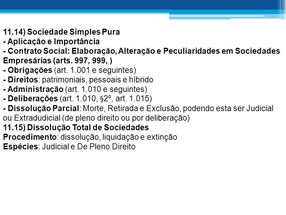 11.14) Sociedade Simples Pura - Aplicação e Importância - Contrato Social: Elaboração, Alteração e Peculiaridades em Sociedades Empresárias (arts. 997