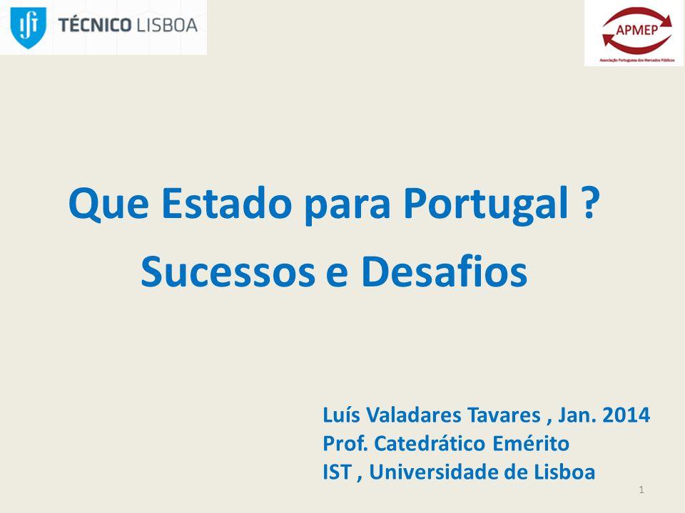 Que Estado para Portugal . Sucessos e Desafios 1 Luís Valadares Tavares, Jan.