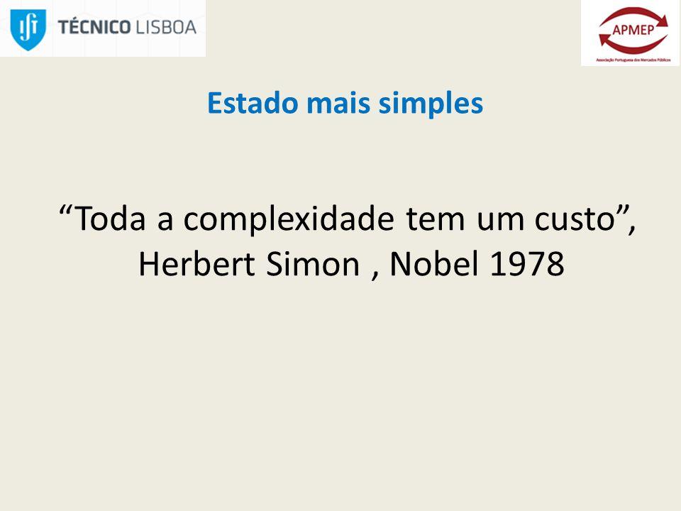 Estado mais simples Toda a complexidade tem um custo, Herbert Simon, Nobel 1978