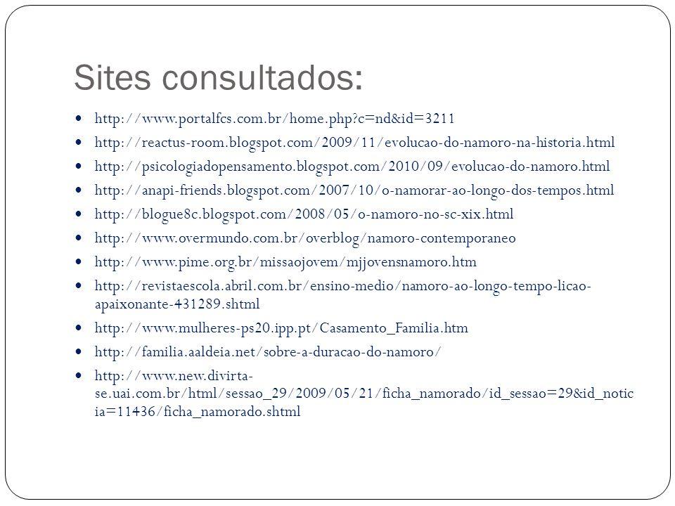 Sites consultados: http://www.portalfcs.com.br/home.php?c=nd&id=3211 http://reactus-room.blogspot.com/2009/11/evolucao-do-namoro-na-historia.html http://psicologiadopensamento.blogspot.com/2010/09/evolucao-do-namoro.html http://anapi-friends.blogspot.com/2007/10/o-namorar-ao-longo-dos-tempos.html http://blogue8c.blogspot.com/2008/05/o-namoro-no-sc-xix.html http://www.overmundo.com.br/overblog/namoro-contemporaneo http://www.pime.org.br/missaojovem/mjjovensnamoro.htm http://revistaescola.abril.com.br/ensino-medio/namoro-ao-longo-tempo-licao- apaixonante-431289.shtml http://www.mulheres-ps20.ipp.pt/Casamento_Familia.htm http://familia.aaldeia.net/sobre-a-duracao-do-namoro/ http://www.new.divirta- se.uai.com.br/html/sessao_29/2009/05/21/ficha_namorado/id_sessao=29&id_notic ia=11436/ficha_namorado.shtml