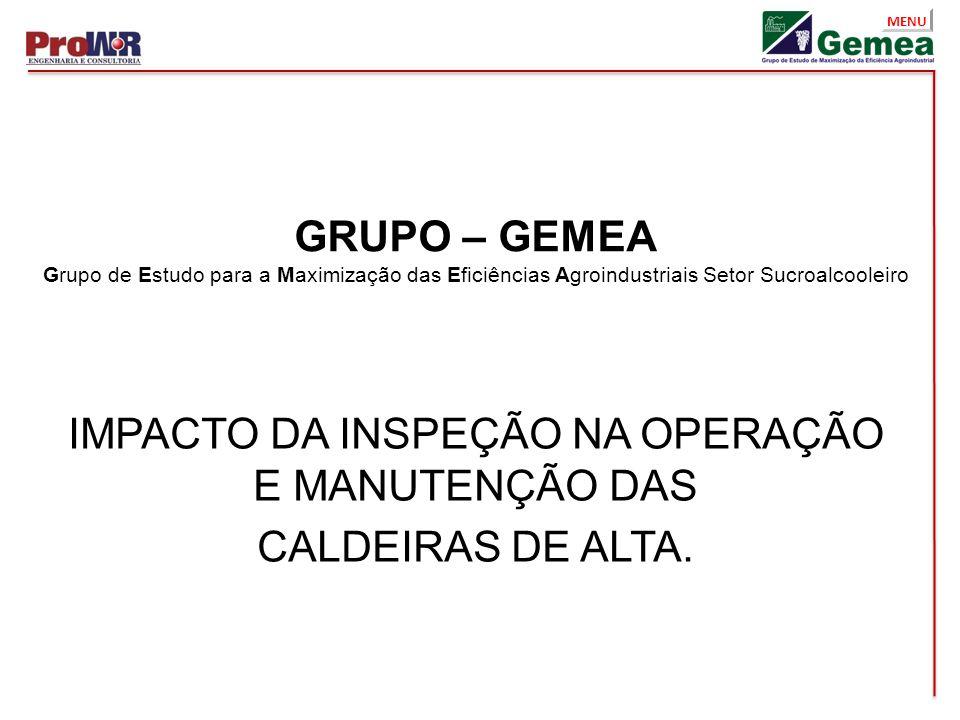 MENU GRUPO – GEMEA Grupo de Estudo para a Maximização das Eficiências Agroindustriais Setor Sucroalcooleiro IMPACTO DA INSPEÇÃO NA OPERAÇÃO E MANUTENÇ