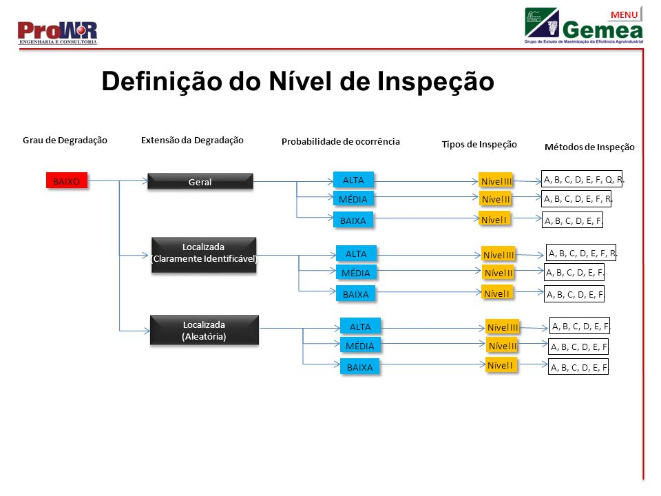 MENU Definição do Nível de Inspeção Extensão da DegradaçãoGrau de Degradação Probabilidade de ocorrência Tipos de Inspeção Métodos de Inspeção Geral L
