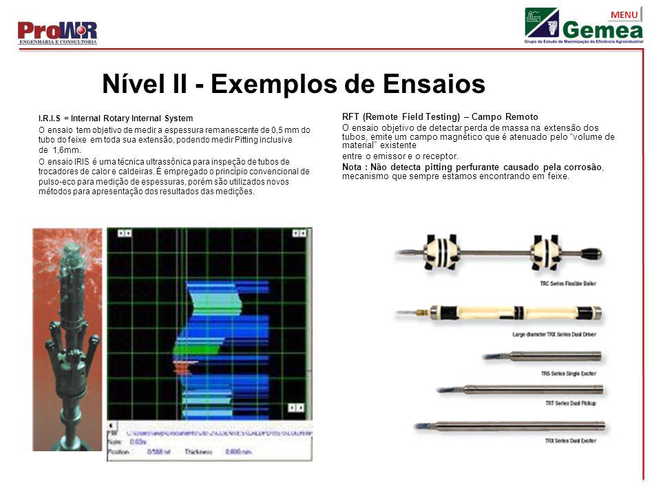 MENU I.R.I.S = Internal Rotary Internal System O ensaio tem objetivo de medir a espessura remanescente de 0,5 mm do tubo do feixe em toda sua extensão