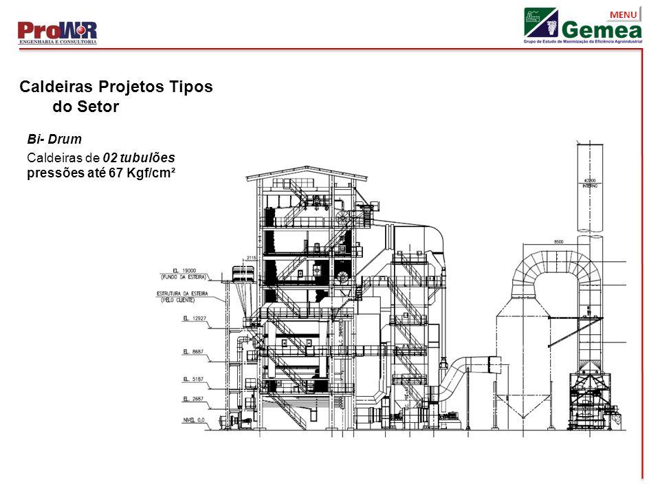 MENU Caldeiras Projetos Tipos do Setor Bi- Drum Caldeiras de 02 tubulões pressões até 67 Kgf/cm²