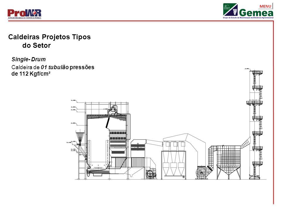 MENU Caldeiras Projetos Tipos do Setor Single- Drum Caldeira de 01 tubulão pressões de 112 Kgf/cm²