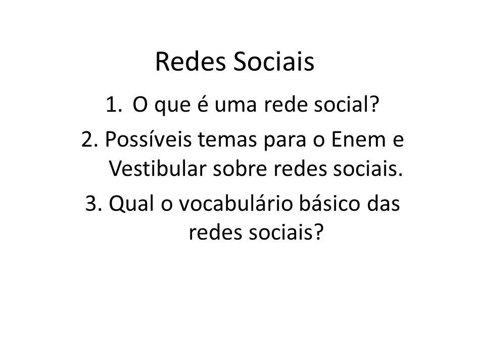 1.O que é uma rede social.2. Possíveis temas para o Enem e Vestibular sobre redes sociais.