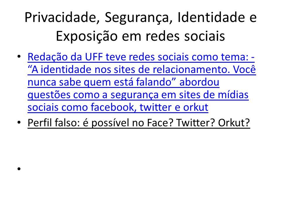 Privacidade, Segurança, Identidade e Exposição em redes sociais Redação da UFF teve redes sociais como tema: - A identidade nos sites de relacionamento.