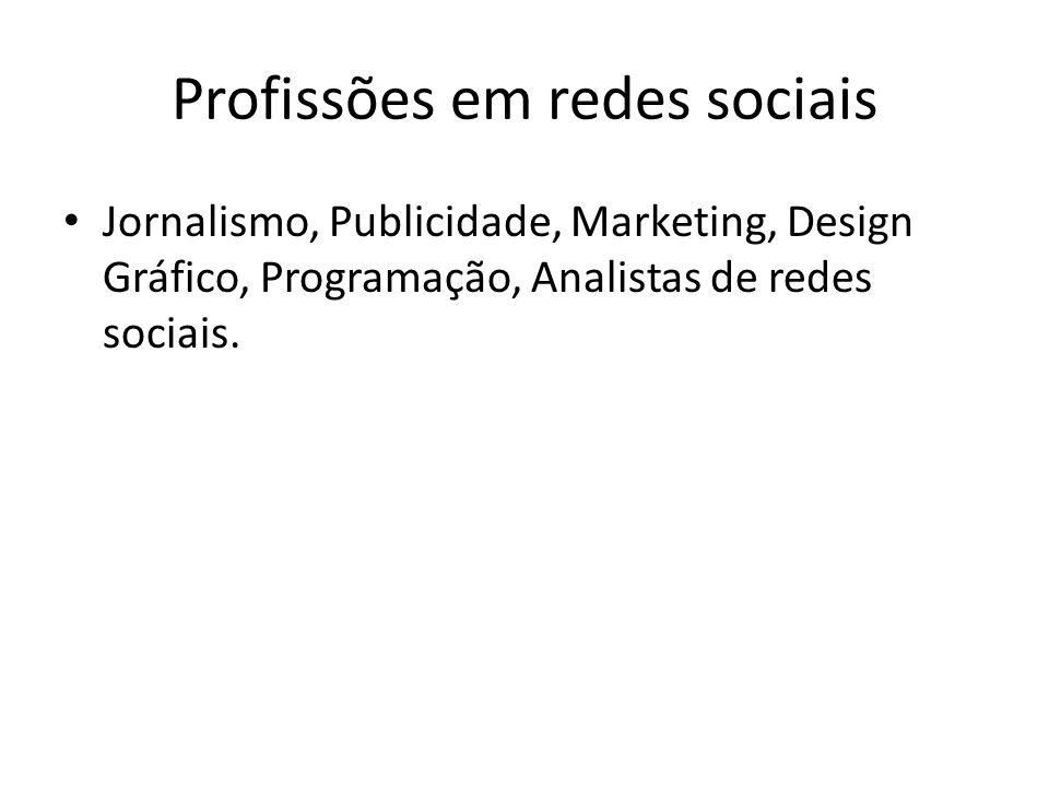Profissões em redes sociais Jornalismo, Publicidade, Marketing, Design Gráfico, Programação, Analistas de redes sociais.
