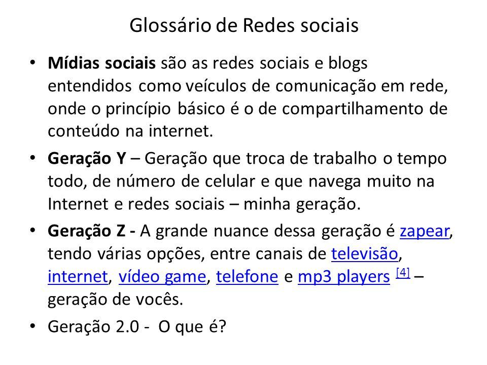 Glossário de Redes sociais Mídias sociais são as redes sociais e blogs entendidos como veículos de comunicação em rede, onde o princípio básico é o de compartilhamento de conteúdo na internet.