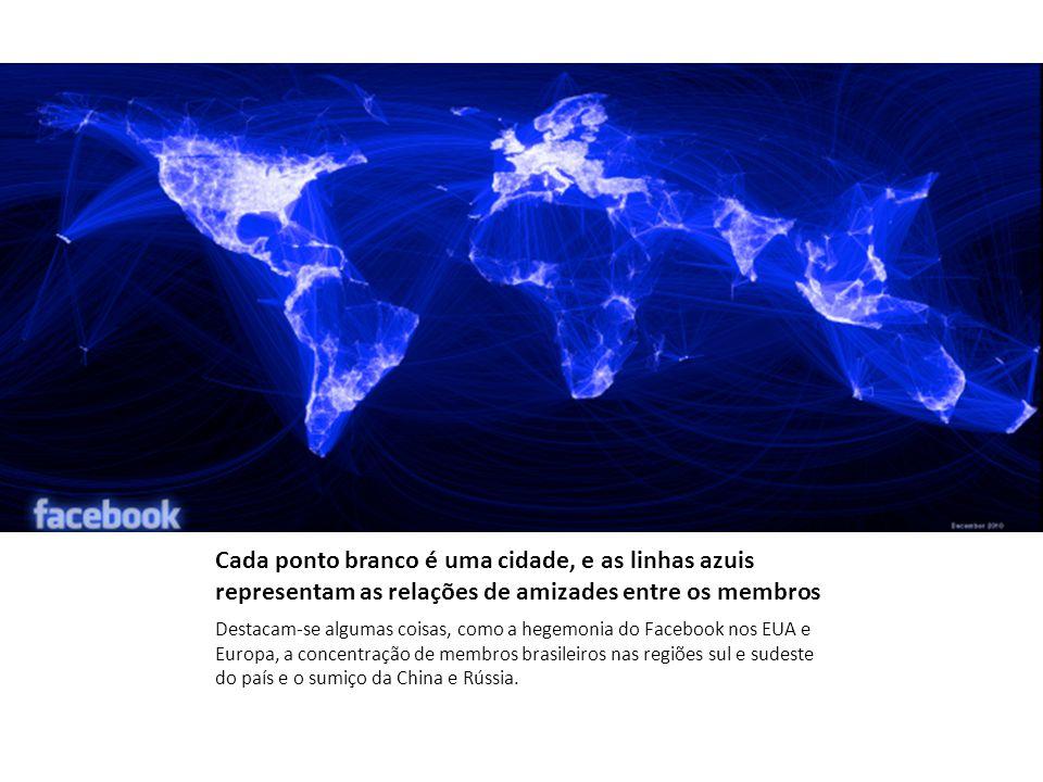 Cada ponto branco é uma cidade, e as linhas azuis representam as relações de amizades entre os membros Destacam-se algumas coisas, como a hegemonia do Facebook nos EUA e Europa, a concentração de membros brasileiros nas regiões sul e sudeste do país e o sumiço da China e Rússia.