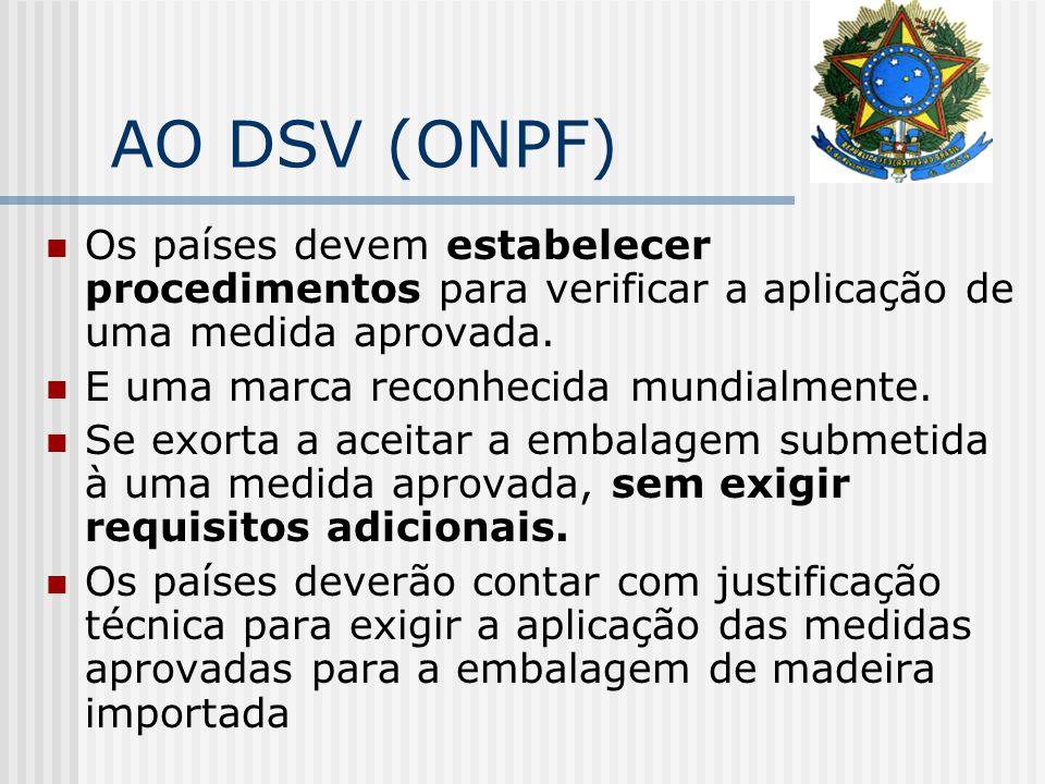 AO DSV (ONPF) Os países devem estabelecer procedimentos para verificar a aplicação de uma medida aprovada. E uma marca reconhecida mundialmente. Se ex