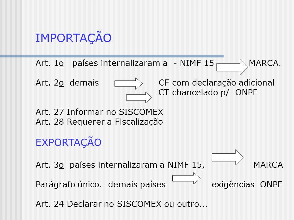 IMPORTAÇÃO Art. 1o países internalizaram a - NIMF 15 MARCA. Art. 2o demais CF com declaração adicional CT chancelado p/ ONPF Art. 27 Informar no SISCO